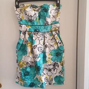 Cute floral summer dress strapless